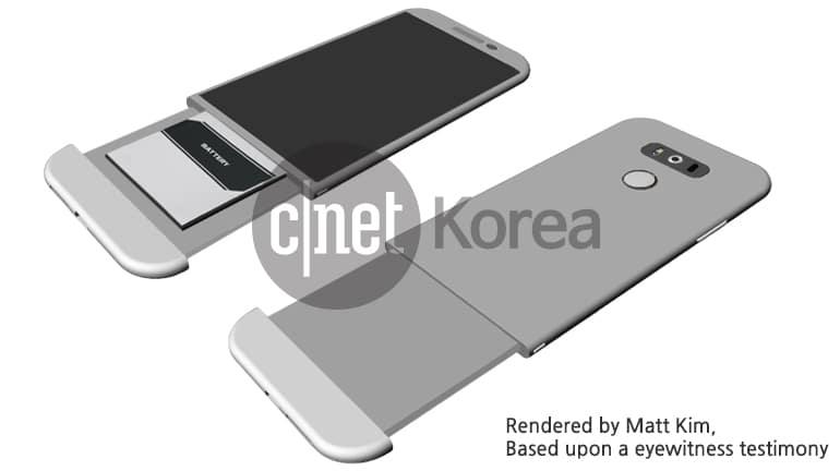 Presunto render dell'LG G5 mostra un corpo interamente in metallo e meccanismo stravagante per garantire la batteria rimovibile