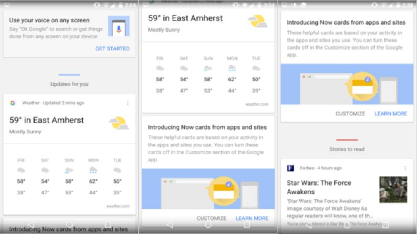 Google Now si aggiorna: informazioni sotto la barra di ricerca