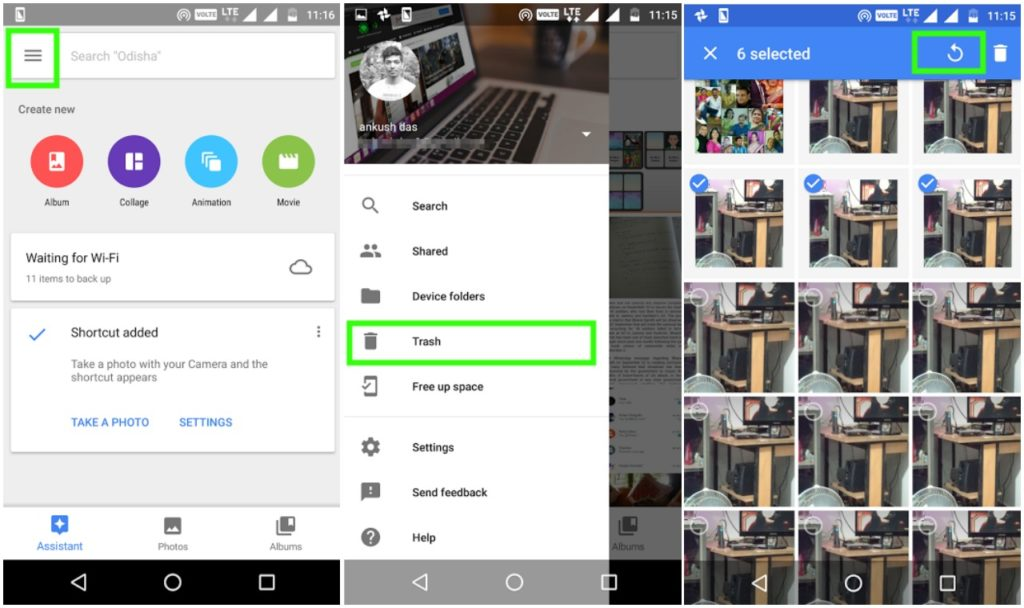 google photos recovery