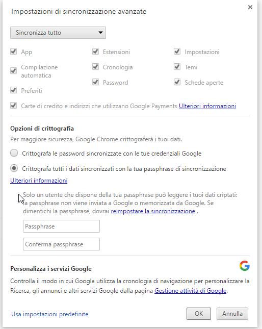 crittografia password chrome